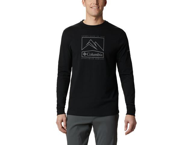 Columbia Cades Cove T-Shirt Avec Imprimé À Manches Longues Homme, black jagged peak